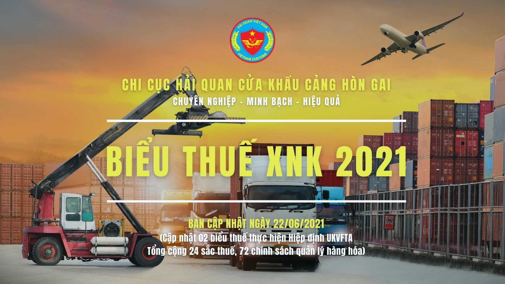 CẬP NHẬT BIỂU THUẾ XUẤT NHẬP KHẨU 2021 (Bản cập nhật ngày 22/06/2021)